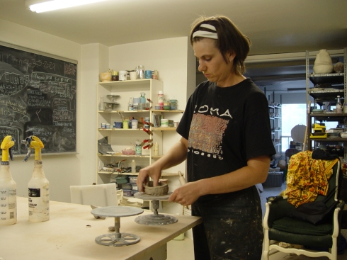 Artist Natalia Laluque, in her home studio