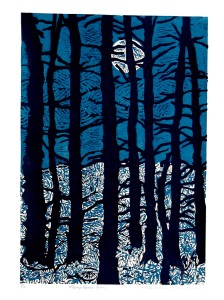 Wallace Brighton FLYING FIGURE-PINES, 1980 5/10 linoleumcut on paper 26 x 20 in., 66 x 50.8 cm.